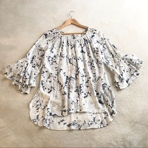 Cupio Top/Blouse Flutter Sleeves Floral, Size L